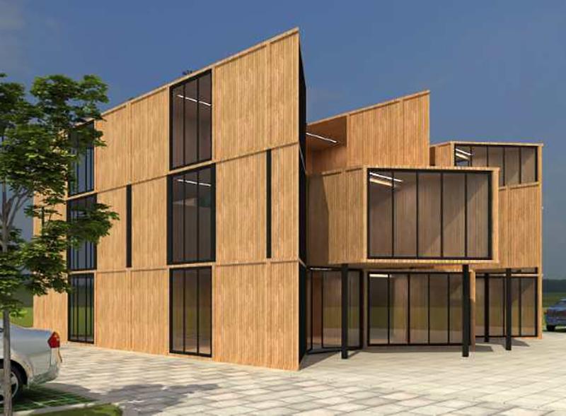 木结构集成式装配办公楼